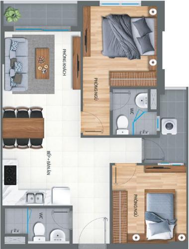 Layout Lovera Vista, Bình Chánh Căn hộ Lovera Vista tầng trung, nội thất cơ bản, tiện ích cao cấp.