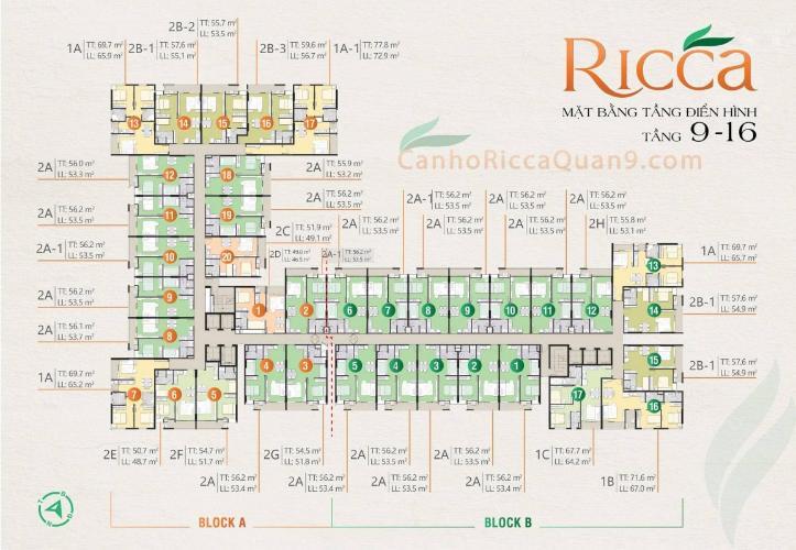 mặt bằng căn hộ Ricca Căn hộ Ricca nội thất cơ bản, ban công đón gió và ánh sáng tốt.