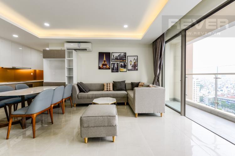 Phòng khách Cho thuê căn hộ Masteri Millennium 3PN rộng rãi, đầy đủ nội thất