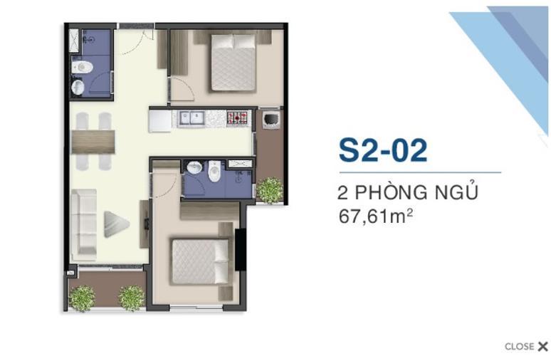Mặt bằng nội thất Q7 Sài Gòn Riverside Căn hộ Q7 Saigon Riverside tầng trung, ban công hướng Nam.