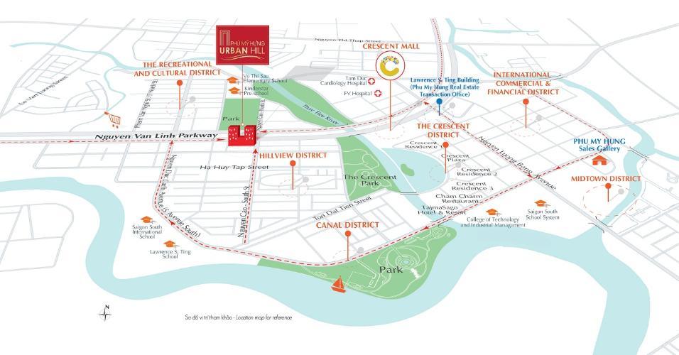 sơ đồ vị trí căn hộ urban hill Căn hộ Urban Hill Q7, đầy đủ tiện ích, ban công hướng Bắc.