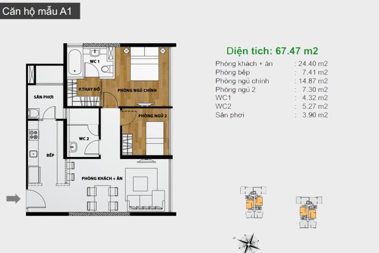 Mặt bằng căn hộ 2 phòng ngủ A1 Căn hộ The Ascent 2 phòng ngủ tầng thấp hướng Bắc tháp B