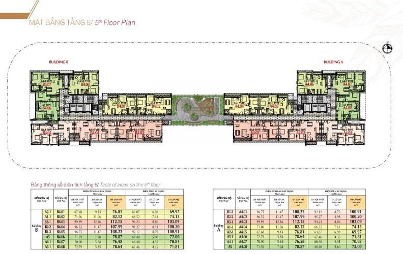 mặt bằng tầng 5 căn hộ urban hill  Bán căn hộ 3 phòng ngủ, nội thất cơ bản Urban Hill