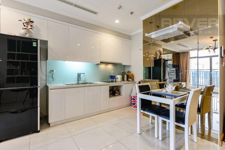Bàn ăn Cho thuê căn hộ Vinhomes Central Park tầng cao, 1PN, đầy đủ nội thất, view sông