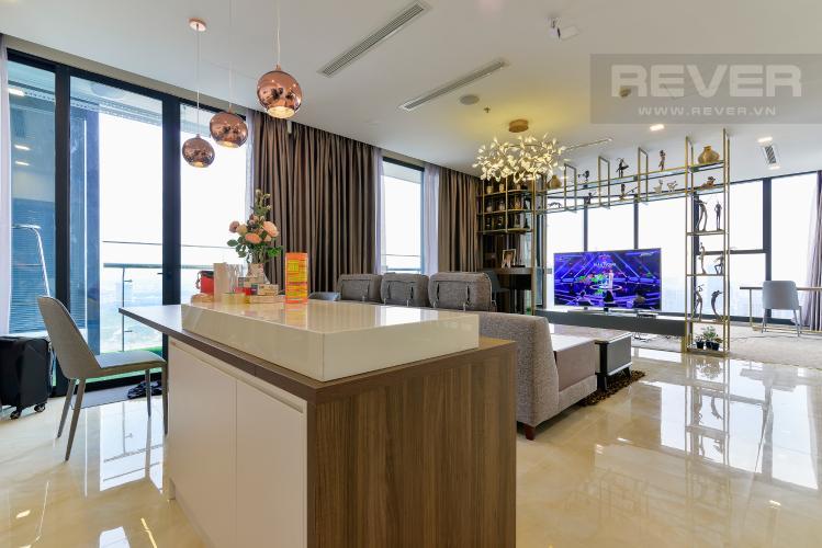 Phòng Khách Căn hộ Vinhomes Golden River tầng cao, 3 phòng ngủ, nội thất đầy đủ