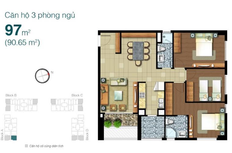 Căn hộ 3 phòng ngủ Căn góc Lexington 3 phòng ngủ tầng thấp LA thiết kế đẹp, sang trọng