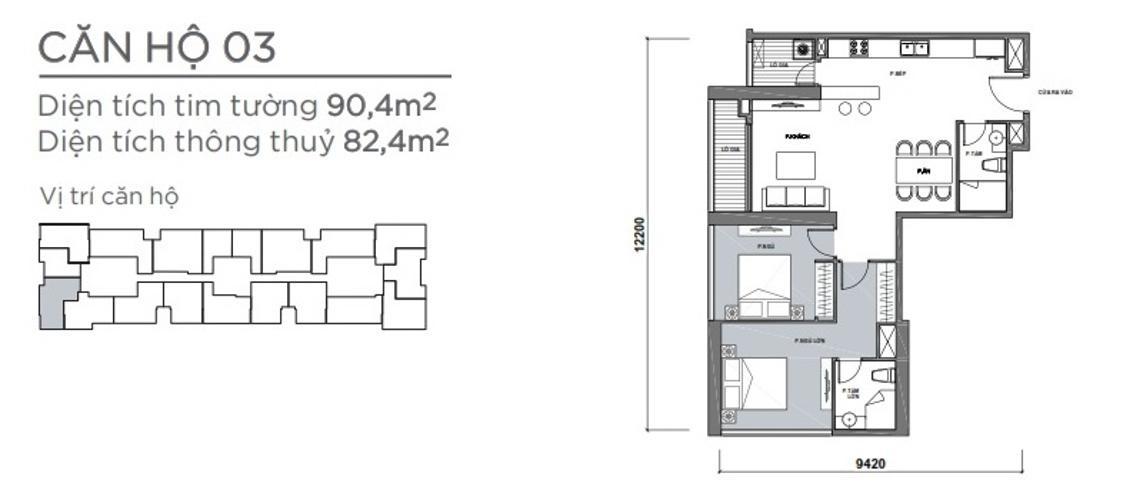 Mặt bằng căn hộ 2 phòng ngủ Căn hộ Vinhomes Central Park 2 phòng ngủ tầng trung P7 đầy đủ nội thất