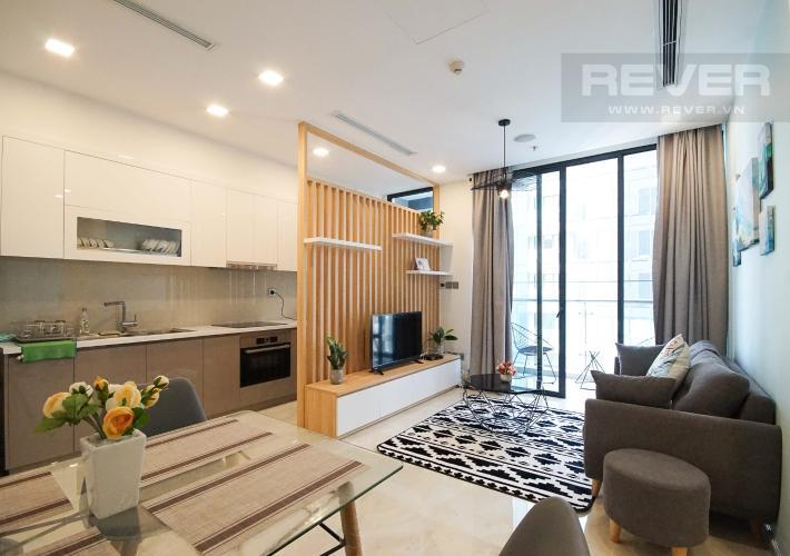 Phòng Khách Cho thuê căn hộ Vinhomes Golden River 1PN, tầng cao, đầy đủ nội thất, view sông thoáng mát