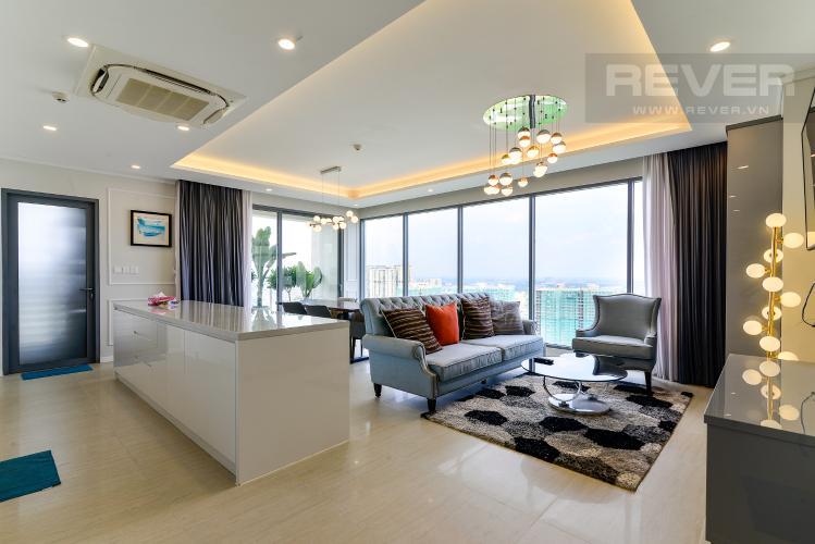 Phòng Khách Cho thuê căn hộ Diamond Island - Đảo Kim Cương 3PN, tháp Bora Bora, đầy đủ nội thất, view sông thoáng đãng