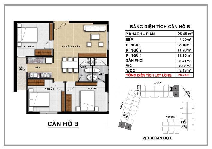 Căn hộ 3 phòng ngủ Căn góc CBD Premium Home 3 phòng ngủ tầng trung tòa Happy
