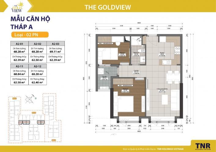 Căn hộ 2 phòng ngủ Căn hộ The Gold View 2 phòng ngủ tầng cao A2 nhà trống, view sông