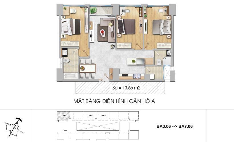 Mặt bằng căn hộ 3 phòng ngủ Căn hộ New City Thủ Thiêm 3 phòng ngủ tầng thấp BA hướng Tây Bắc