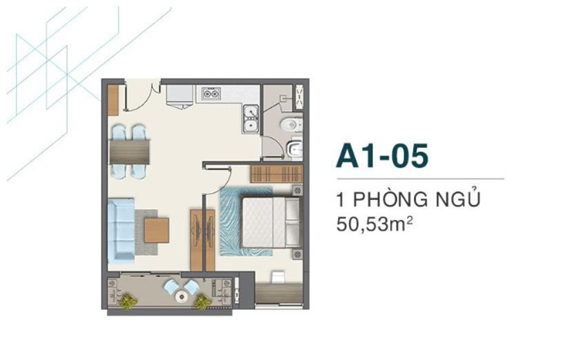 A1.05 Bán căn hộ Q7 Boulevard diện tích 50.53m2, kết cấu gồm 1 phòng ngủ và 1 toilet. Ban công hướng Nam