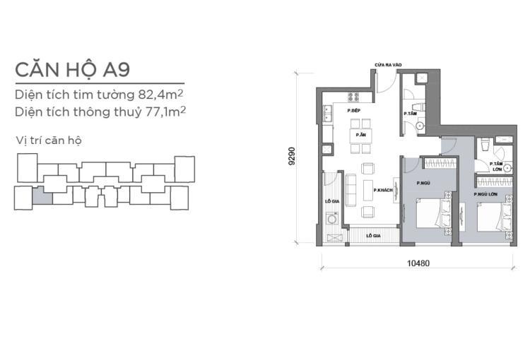 Mặt bằng căn hộ 2 phòng ngủ Căn hộ Vinhomes Central Park 2 phòng ngủ, tầng cao P6, nội thất đầy đủ