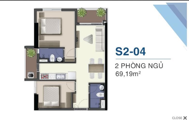 Mặt bằng căn hộ Q7 Saigon Riverside Bán căn hộ view cầu Phú Mỹ - Q7 Saigon Riverside tầng thấp, 1 phòng ngủ, diện tích 69.1m2, nội thất cơ bản.