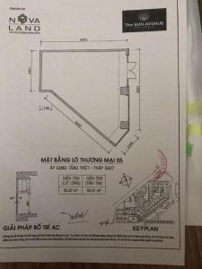 Cho thuê shophouse The Sun Avenue, tầng trệt, block 7, diện tích 69m2, không có nội thất, bàn giao thô
