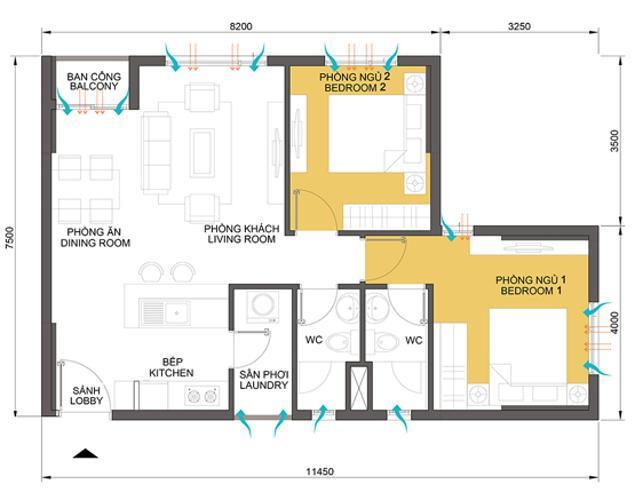 Căn hộ 2 phòng ngủ Căn góc Masteri Thảo Điền 2 phòng ngủ tầng trung tòa T2