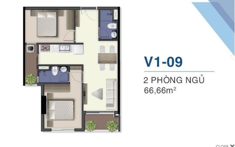 layout căn hộ Q7 Saigon Riverside Complex Bán căn hộ Q7 Saigon Riverside ban công hướng Nam nhìn về nội khu.