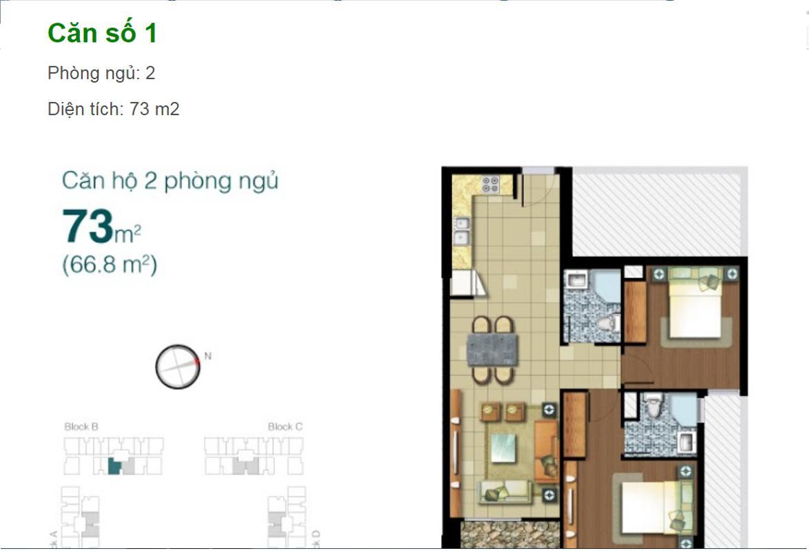 1 Bán hoặc cho thuê căn hộ Lexington Residence 2PN, tháp LB, diện tích 73m2, đầy đủ nội thất