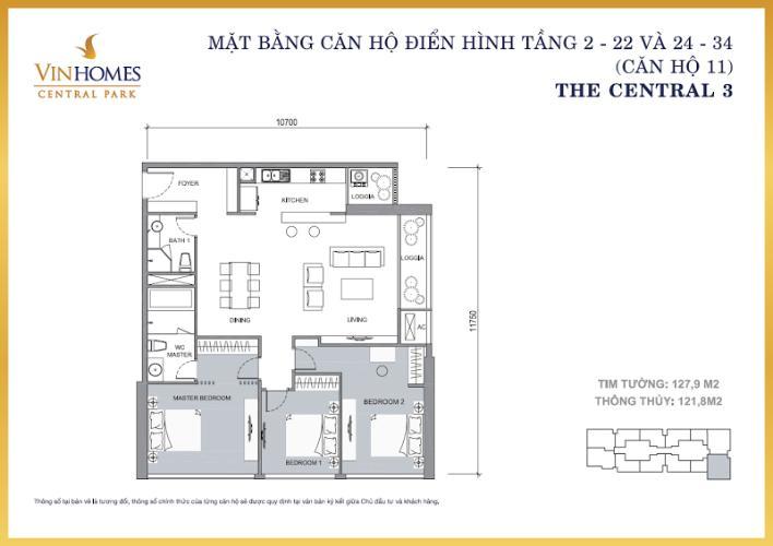 Căn hộ 3 phòng ngủ Căn góc Vinhomes Central Park tầng cao Central 3 view sông