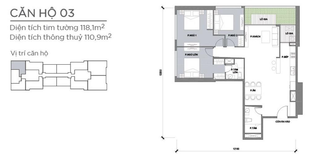 Mặt bằng căn hộ 3 phòng ngủ Căn hộ Vinhomes Central Park tầng thấp Park 2, 3 phòng ngủ, view sông