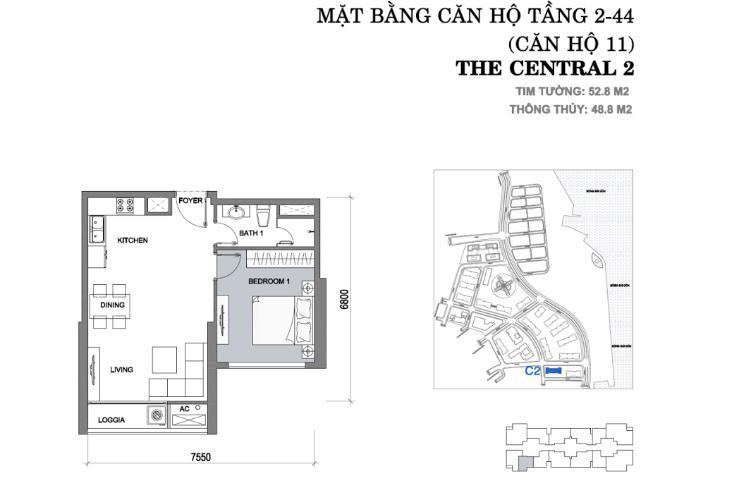 Căn hộ 1 phòng ngủ Căn hộ Vinhomes Central Park 1 phòng ngủ tầng thấp Central 2