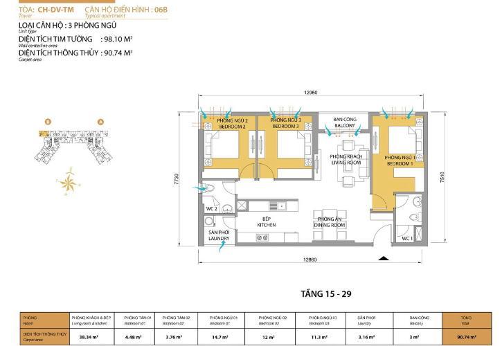 Căn hộ 3 phòng ngủ Căn góc Masteri Thảo Điền tầng cao T5 view trực diện sông