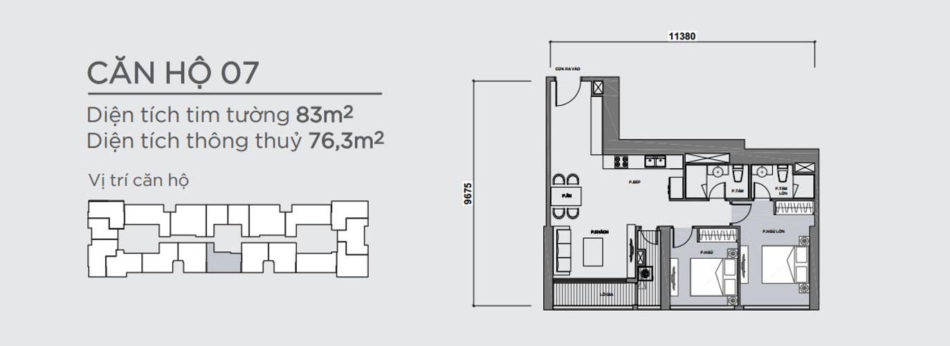 Mặt bằng căn hộ 2 phòng ngủ Căn hộ Vinhomes Central Park 2 phòng ngủ, tầng cao P7, chưa có nội thất