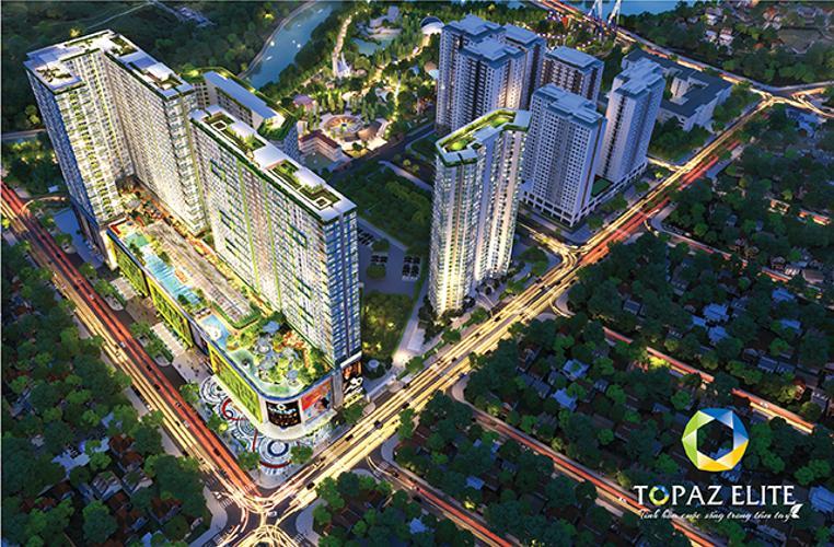 Tổng quan dự án Topaz Elite Căn hộ Topaz Elite tầng cao, view thành phố sầm uất.