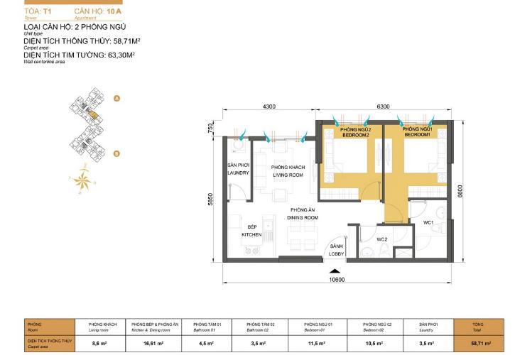 Mặt bằng căn hộ 2 phòng ngủ Căn hộ Masteri Thảo Điền tầng thấp T1 đã có sổ hồng, đầy đủ tiện nghi