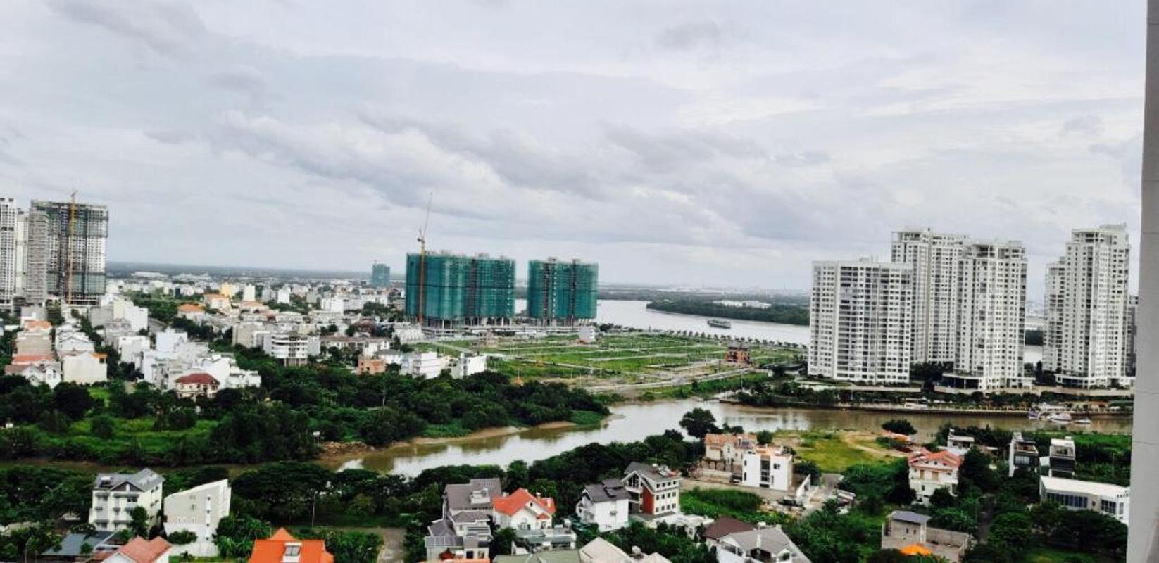 view Bán căn hộ officetel The Sun Avenue 1PN, diện tích 47m2, nội thất cơ bản, view Đảo Kim Cương và sông Sài Gòn
