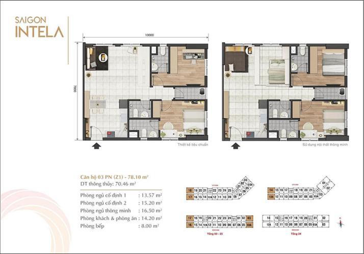 Căn hộ tầng cao Saigon Intela 3 phòng ngủ, nội thất cơ bản.