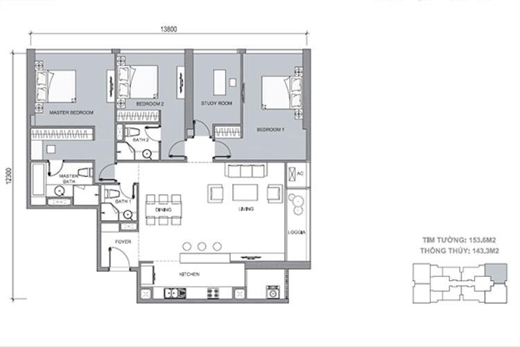 Mặt bằng căn hộ 3 phòng ngủ + 1 phòng làm việc Căn góc Vinhomes Central Park tầng cao Central 1 view nhìn vĩnh viễn về sông