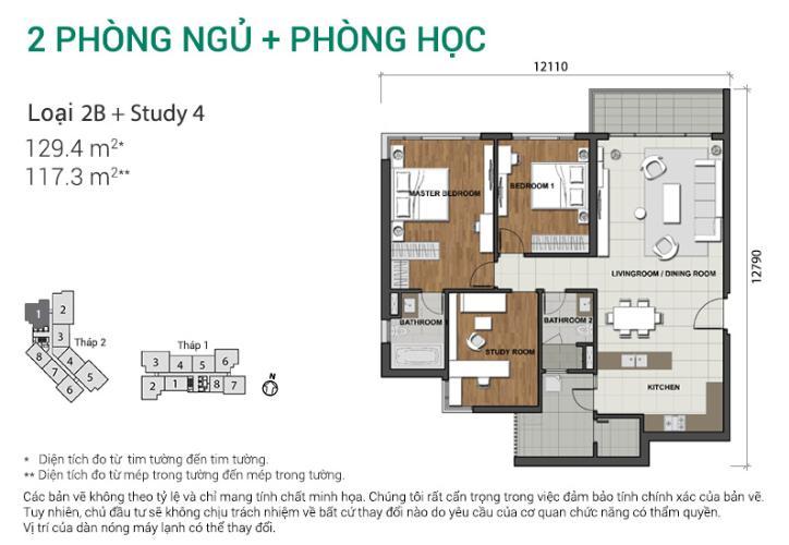 Căn hộ 2 phòng ngủ + phòng học Căn góc Estella Heights tầng cao tháp T2 mới bàn giao, view sông