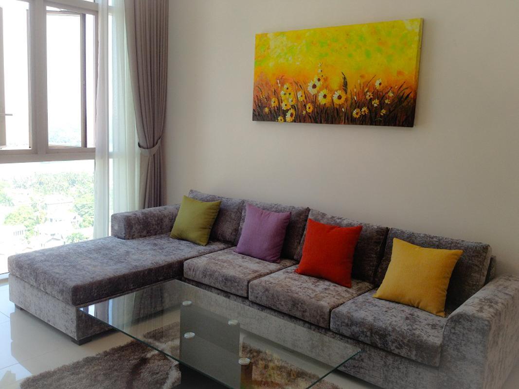 Phòng khách Bán căn hộ The Vista An Phú 2PN, tháp T4, diện tích 101m2, đầy đủ nội thất, view sông Sài Gòn và bán đảo Thanh Đa