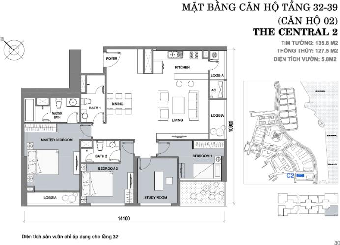 Mặt bằng căn hộ 4 phòng ngủ Căn góc Vinhomes Central Park tầng cao C2 full nội thất, view sông