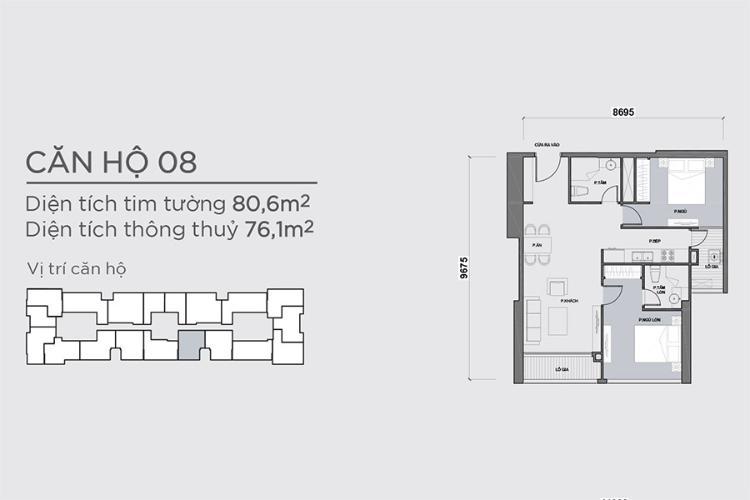Officetel 2 phòng ngủ Căn hộ Vinhomes Central Park 2 phòng ngủ tầng trung P7 full nội thất