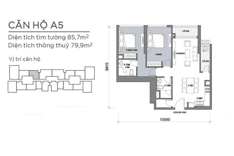 Mặt bằng căn hộ 2 phòng ngủ Căn hộ Vinhomes Central Park 2 phòng ngủ, tầng cao P6, đầy đủ nội thất