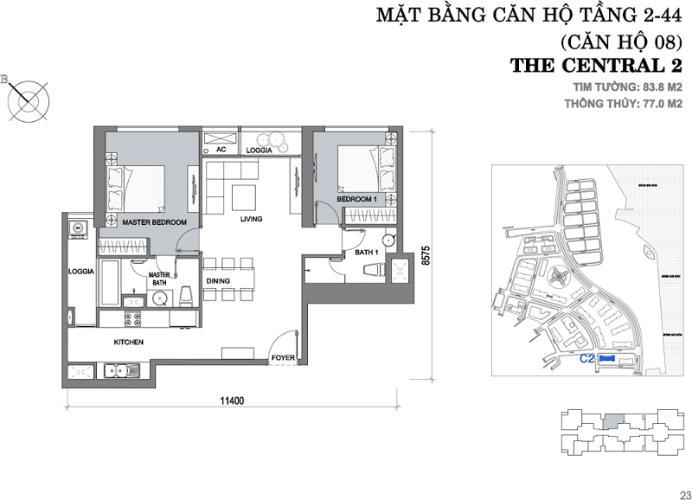 Mặt bằng căn hộ 2 phòng ngủ Căn hộ Vinhomes Central Park tầng cao Central 2 thiết kế hiện đại, trẻ trung