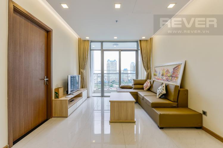 Phòng khách Cho thuê căn hộ Vinhomes Central Park tầng trung, 2PN, đầy đủ nội thất, view đẹp
