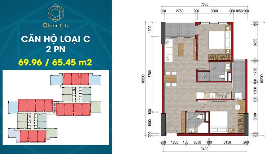 Layout căn hộ Charm City , Dĩ An Căn hộ Charm City tầng 17, ban công hướng Bắc.