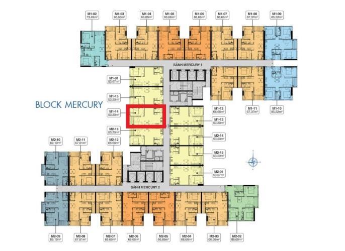 M1.14 Lo1 Bán căn hộ Q7 Saigon Riverside, 1 phòng ngủ, diện tích 53.2m2, chưa bàn giao