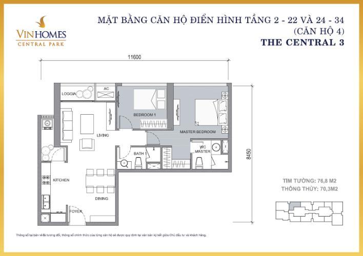 Mặt bằng căn hộ 2 phòng ngủ Căn hộ Vinhomes Central Park 2 phòng ngủ tầng cao C3 hướng Đông