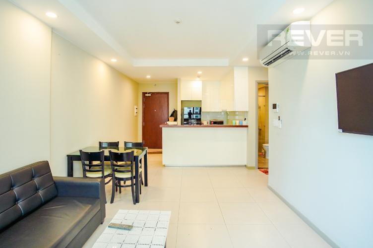 Phòng Khách Cho thuê căn hộ The Gold View 2PN, tháp B, nội thất cơ bản, view rạch Bến Nghé