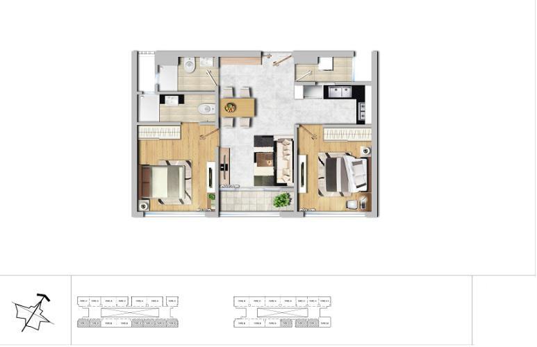 Mặt bằng căn hộ 2 phòng ngủ Căn hộ New City Thủ Thiêm 2 phòng ngủ tầng thấp BA hướng Đông Nam