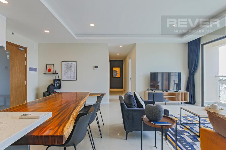 Phòng Khách Bán hoặc cho thuê căn hộ Masteri Millennium tầng cao, 3PN 2WC, đầy đủ nội thất, view sông và Bitexco