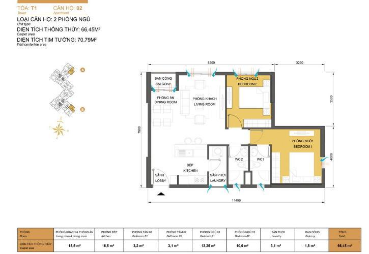 Mặt bằng căn hộ 2 phòng ngủ Căn hộ Masteri Thảo Điền 2 phòng ngủ tầng thấp T1 hướng Đông Nam