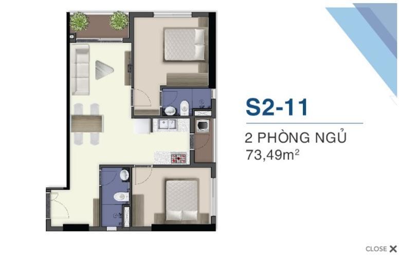 Mặt bằng nội thất Q7 Sài Gòn Riverside Căn hộ tầng cao Q7 Saigon Riverside, ban công hướng Đông Bắc.