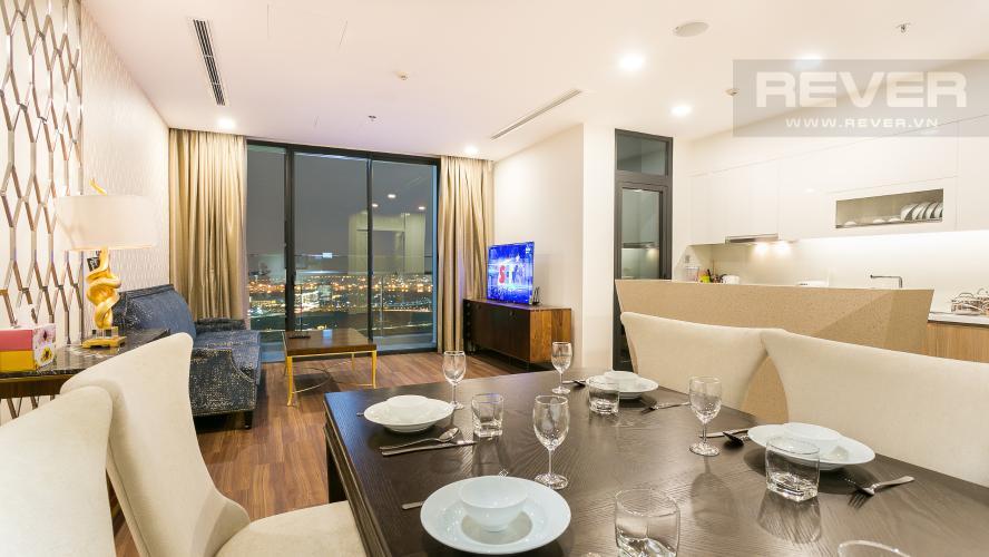 Phòng Khách Bán hoặc cho thuê căn hộ Vinhomes Golden River 3PN, tầng cao, đầy đủ nội thất, view sông Sài Gòn và Thủ Thiêm