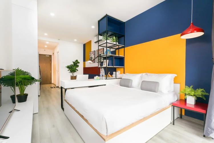 Phòng ngủ căn hộ MASTERI MILLENNIUM Bán căn hộ Masteri Millennium 1PN, tầng thấp, đầy đủ nội thất, view trực diện hồ bơi
